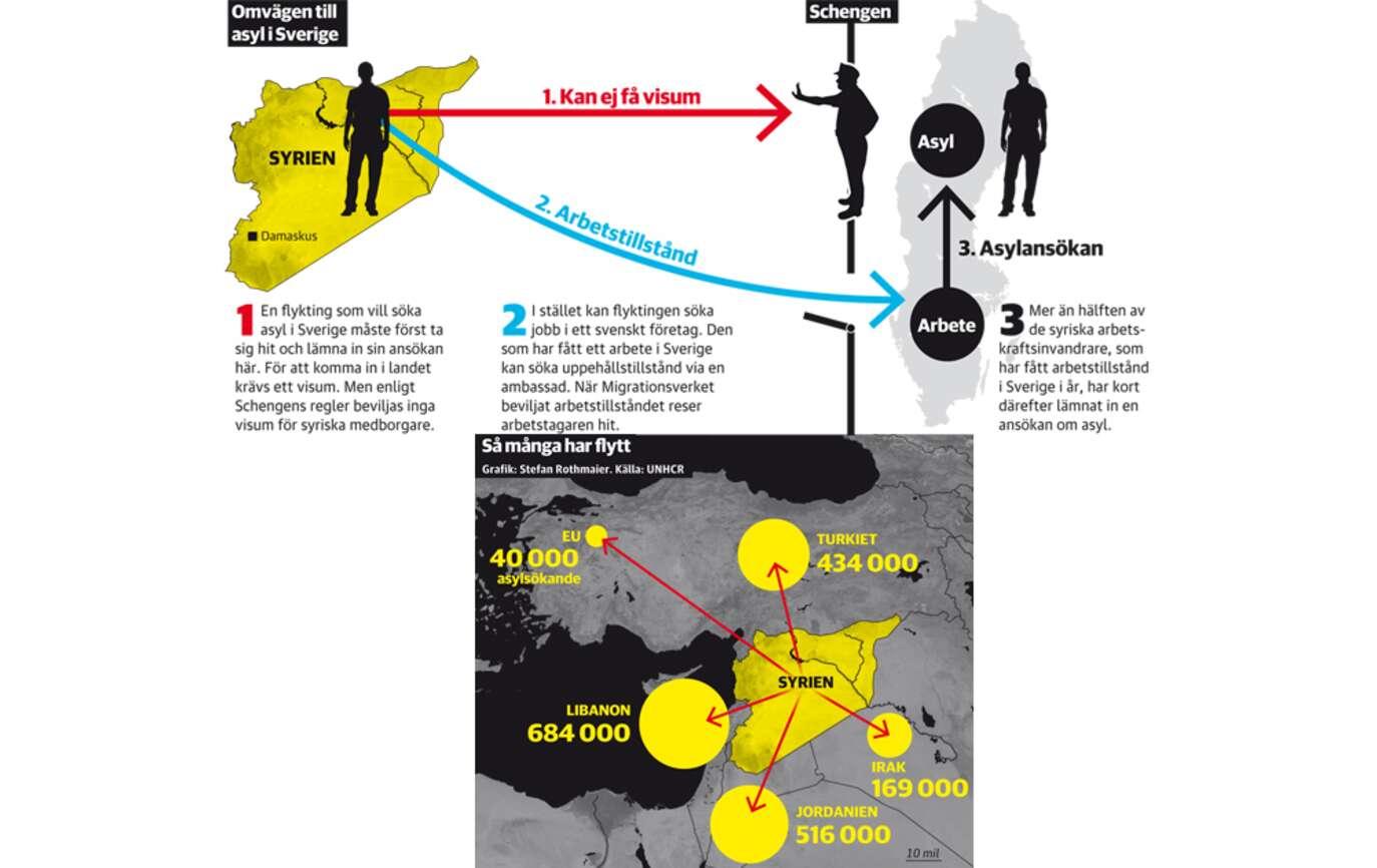 Arbetstillstånd och arbetskraftsinvandring från Syrien med tillhörande anhöriginvandring