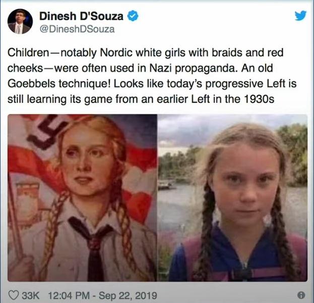Dinesh D´Souza jämför inte Greta Thunberg med nazisterna, utan med det system organisationen bakom Greta använder sig av!