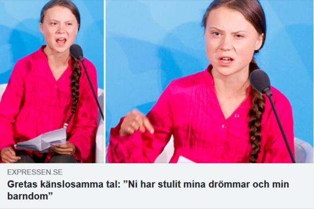 Greta Thunberg talar inför FN