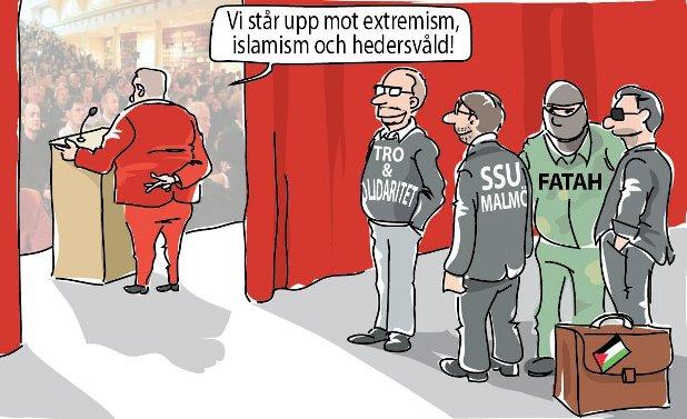 Socialdemokraterna: Vi står upp mot extremism, islamism och hedersvåld (SSU, Tro & solidaritet, Fatah)