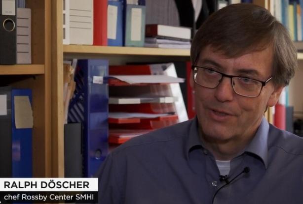 Ralph Döscher chef Rossby Center SMHI. Temperaturhöjningen värre än befarat enligt forskare, hävdar TV4-nyheterna 2019-10-24