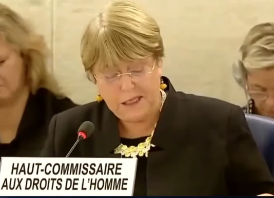 UN High Commissioner for Human Rights (UNHCR), Michelle Bachelet, f.d. president i Chile försvarar Greta Thunberg