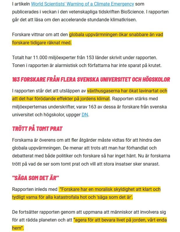 163 svenska forskare stödjer omtalade klimatrapporten: En nödsituation - Nyheter 24