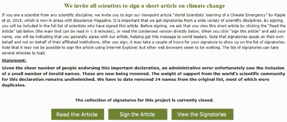 Alliance of World Scientists: We invite all scientists to sign a short article on climate change
