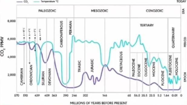CO2 och temperatur är mestadels ej synkroniserad sedan 500 miljoner år tillbaka. Ibland är CO2 och temperatur helt osynkroniserade, som för 146 miljoner år sedan. precis som för 290 miljoner år sedan, under en av istiderna. För 130-250 miljoner år sedan var halten av koldioxid rekordlåg samtidigt som temperaturen var rekordhög.