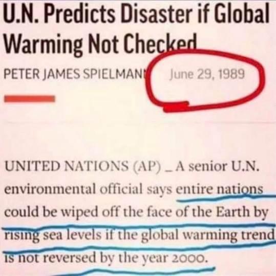 Förenta Nationerna förutspår 1989 en katastrof om inget görs åt den globala uppvärmningen innan år 2000