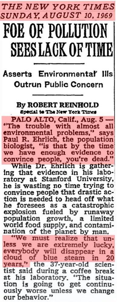 Domedagsvarning från 1969 av Paul Ehrlich. Alla är borta i ett blått moln innan 1989