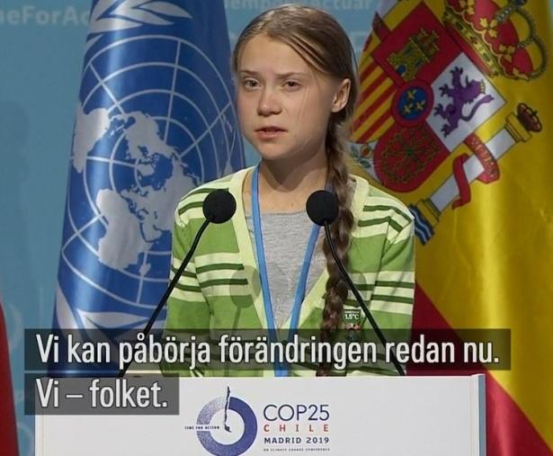 Greta Thunbergs tal. COP25 i Madrid