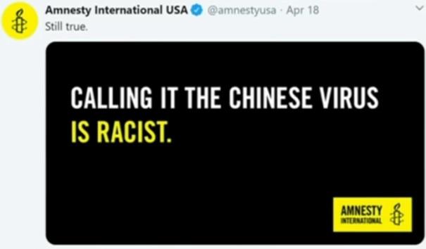 Amnesty International; Att kalla Coronaviruset för kinesiskt är rasistiskt